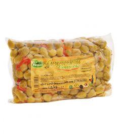 Grüne Oliven entkernt mit Paprika 1,5Kg FICACCI