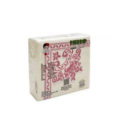 Servietten weiß m/rosa Ornamenten 40x40cm Rosa 24x50Blatt PIERRO